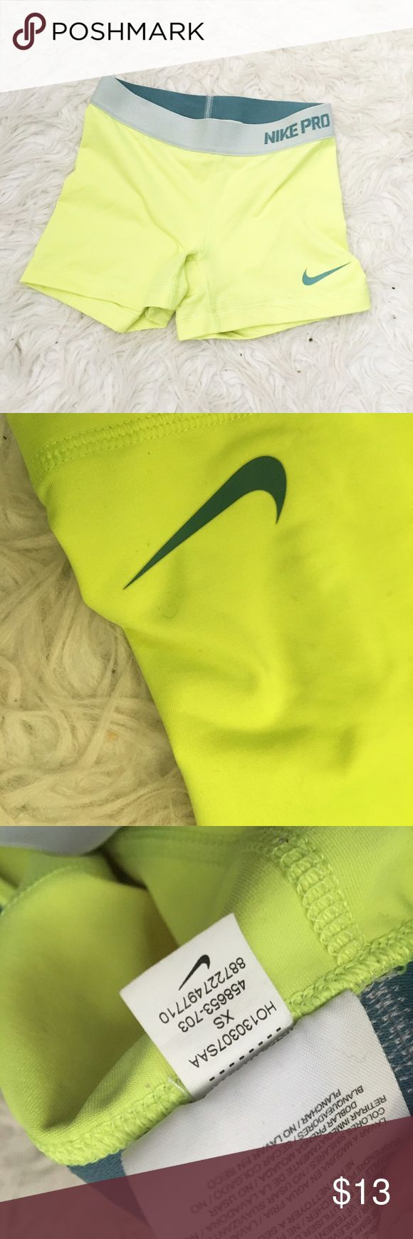 neon yellow nike pros 25% off of bundles! in great condition, super cute! Nike Shorts