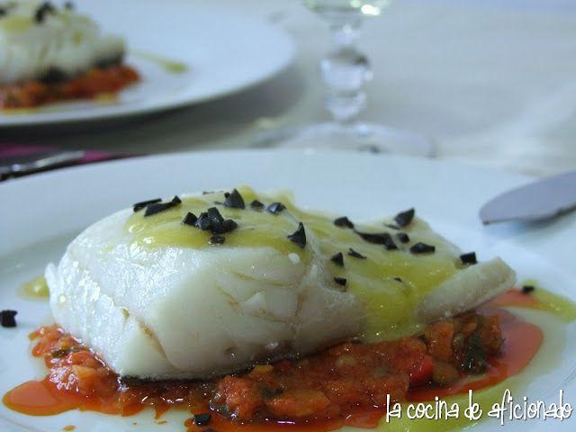la cocina de aficionado: Bacalao confitado a baja temperatura sobre pisto de calabacín