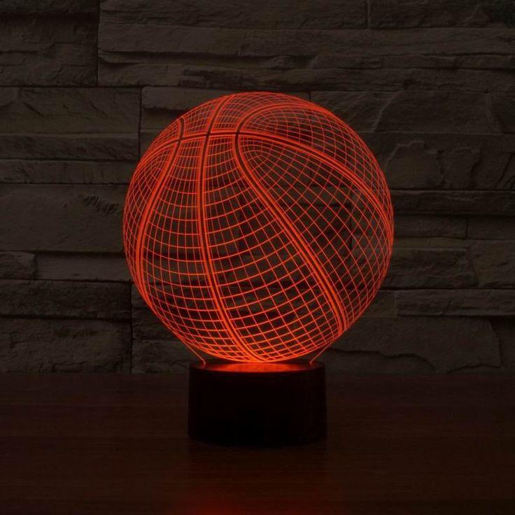 3d Basketball Multi Color Led Art Sculpture Night Lights