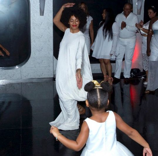 The 3 year old pictured with her cousin, Solange's son at her grandma, Tina Knowles's wedding to Richard Lawson last Sunday. Description from lindaikeji.blogspot.com. I searched for this on bing.com/images