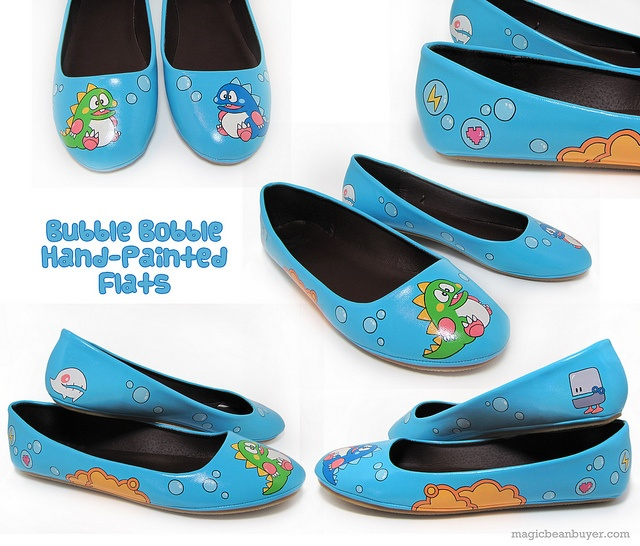 Hand-Painted Bubble Bobble Flats by magicbeanbuyer