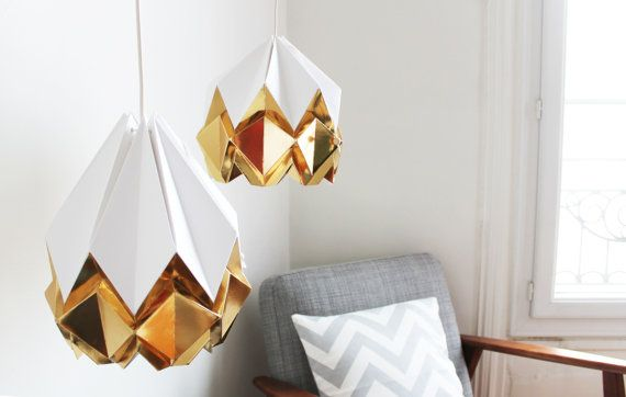 Elegant origami lamp  snow white with deep gold pendent light