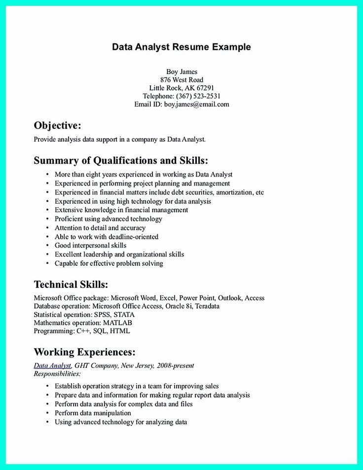 Data Analyst Intern Resume Inspirational Data Analyst