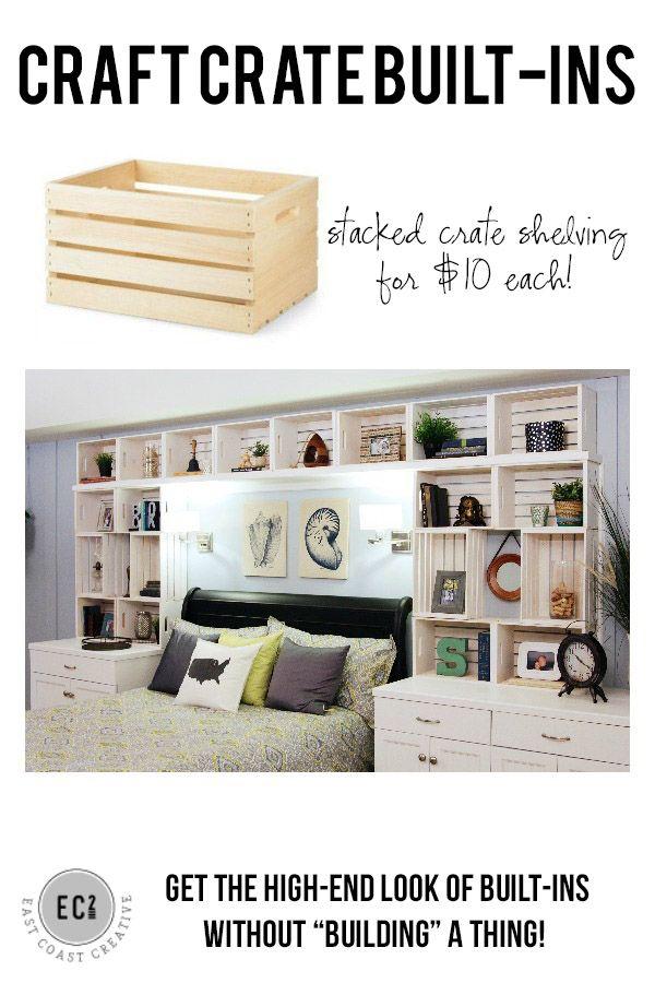 DIY Built-in Shelves using craft crates