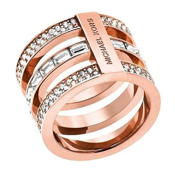 Michael Kors Park Avenue Rose Goldtone Tri-Band Ring (£82) ❤ liked on Polyvore featuring jewelry, rings, rose gold, channel set ring, pave band ring, emerald cut ring, band rings and channel setting ring