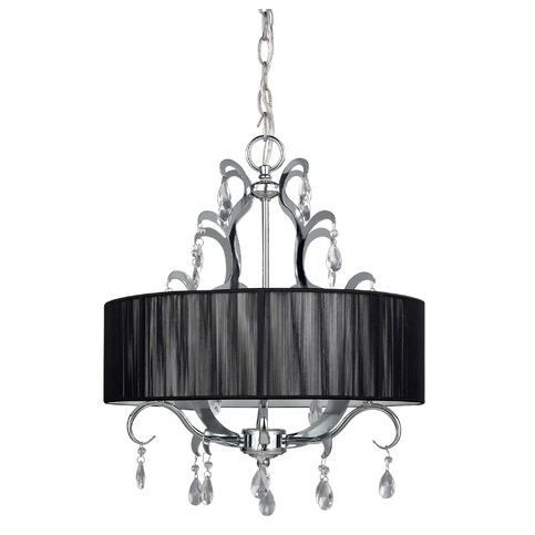4 Light Crystal Chandelier With Black Drum Shade Drum Shade