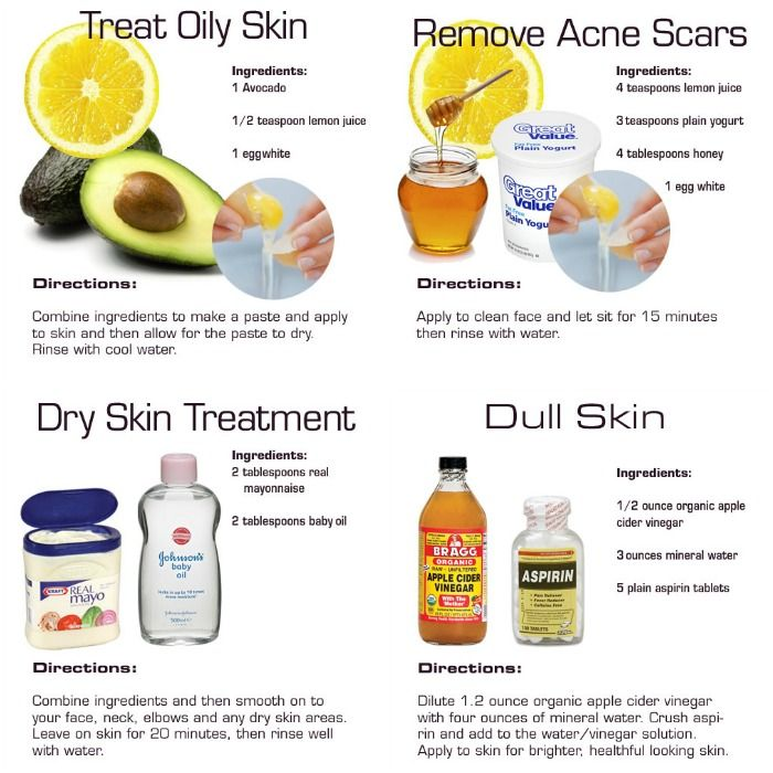 Try these skin care recipes. They hit the 4 major issues most of us may have in our lives: dull skin, dry skin, oily skin and acne skin. Anyone else have other remedies to share?