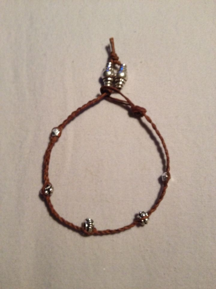 Braided Irish linen with sterling silver bracelet