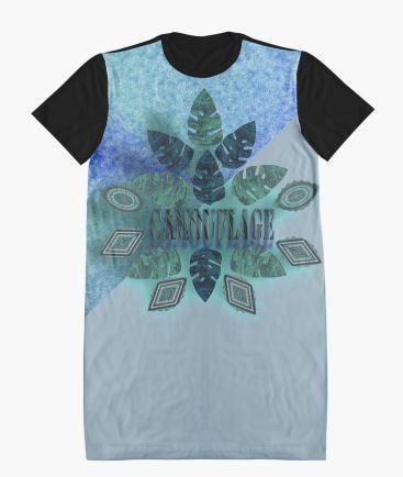 DARK LEAF CAMOUFLAGE. Graphic T-Shirt Dresses