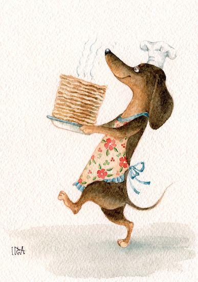 Vintage dachshund dachshund art daschund long haired dachshund miniature dachshunds weenie dogs doggies dog illustration dinner