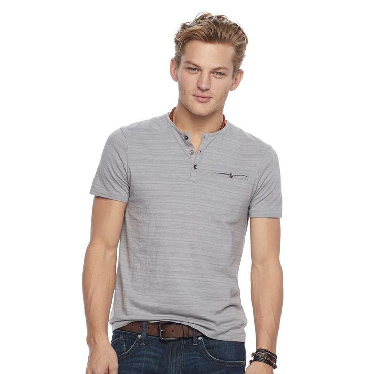 Men's Rock & Republic Textured Henley Tee, Size: Medium, Med Grey