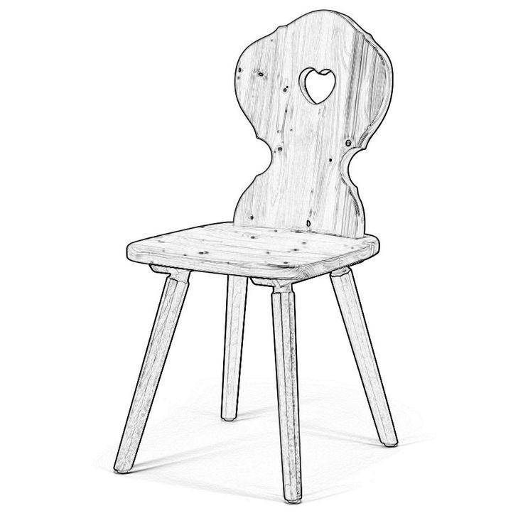 W5320. Sedia rustica in legno massello a scelta tra legno di abete, faggio, rovere naturale. Nella versione in abete, le gambe saranno in frassino.