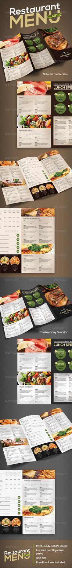 Restaurant Menu (Classic) Template #design #speisekarte Download: http://graphicriver.net/item/restaurant-menu-classic/7503885?ref=ksioks