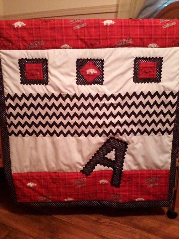 Arkansas Razorback baby quilt, Razorback baby blanket by NanasHandmadeLinens on Etsy
