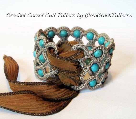 Ganchillo patrón corsé brazalete pulsera por GlowCreekPatterns
