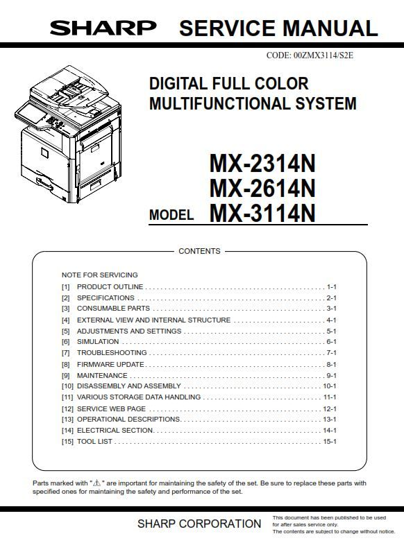 Sharp Mx 2314n 2614n 3114n Copier Service Manual And Repair Guide Repair Guide Manual Repair
