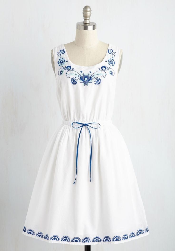 Made to Embroider Dress. Flaunt your love of sweet stitches by sporting this white cotton dress. #white #modcloth