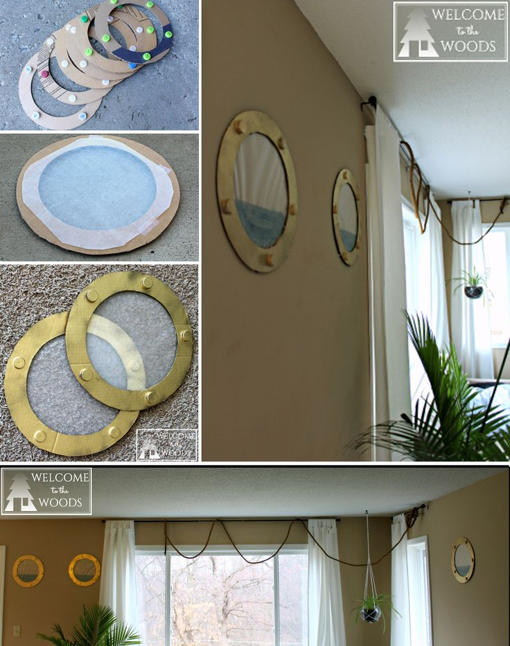 How to make faux portholes for your next pirate or ship theme birthday party celebration. I really like the fake porthole and hanging rope ideas as party decorations!