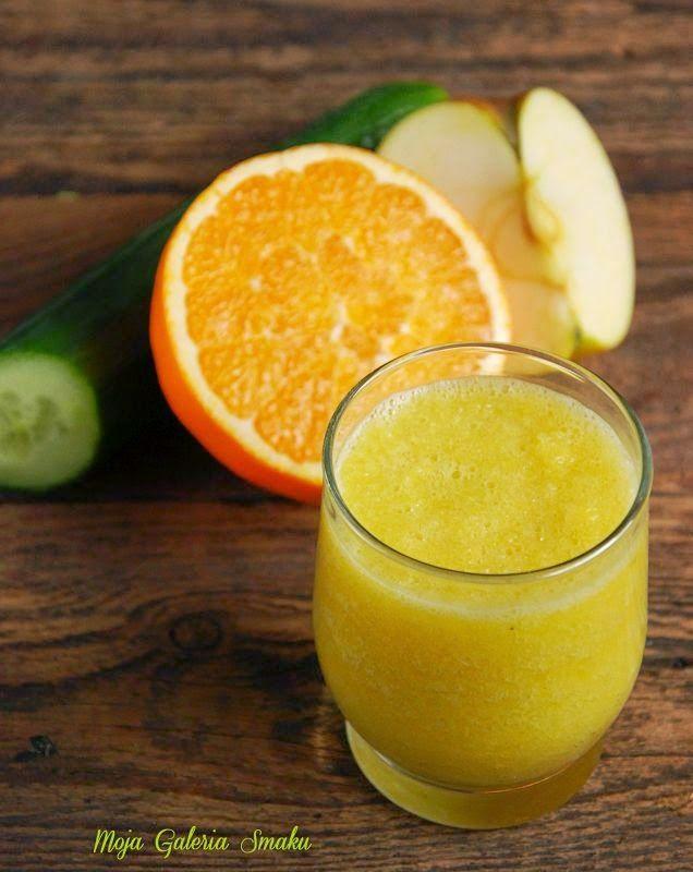 Koktajl z ogórkiem, selerem naciowym, pomarańczą i jabłkiem. Ogórek oraz seler naciowy pomagają w oczyszczaniu organizmu z toksyn. Oba ...