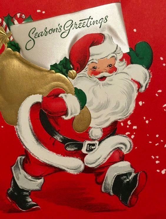 Vintage Christmas Card. Season's Greetings. Retro Santa.