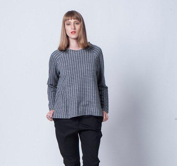 Women Gray Sweater Gray Women Top Oversize Top Long by YaelAdmoni