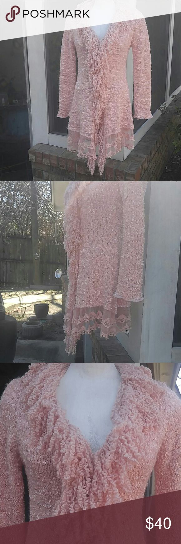 Lady's, Pink, Fringe and Lace Cardigan Beautiful, curly fringe cardigan/sweater, with lace trimmed hemline!!! Hook and loop fasteners down front. Has shimmering threading throughout to really make it stand out! Material: Knit is 37% Acrylic, 33% Polyester, 30% Wool. Trim is 100% Polyester.  Hand wash only. Size medium. Excellent condition! No holes or stains!! SIONI STUDIO Sweaters Cardigans