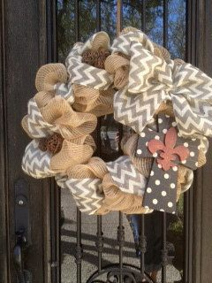 burlap and cross wreath, love the grapevine balls added.