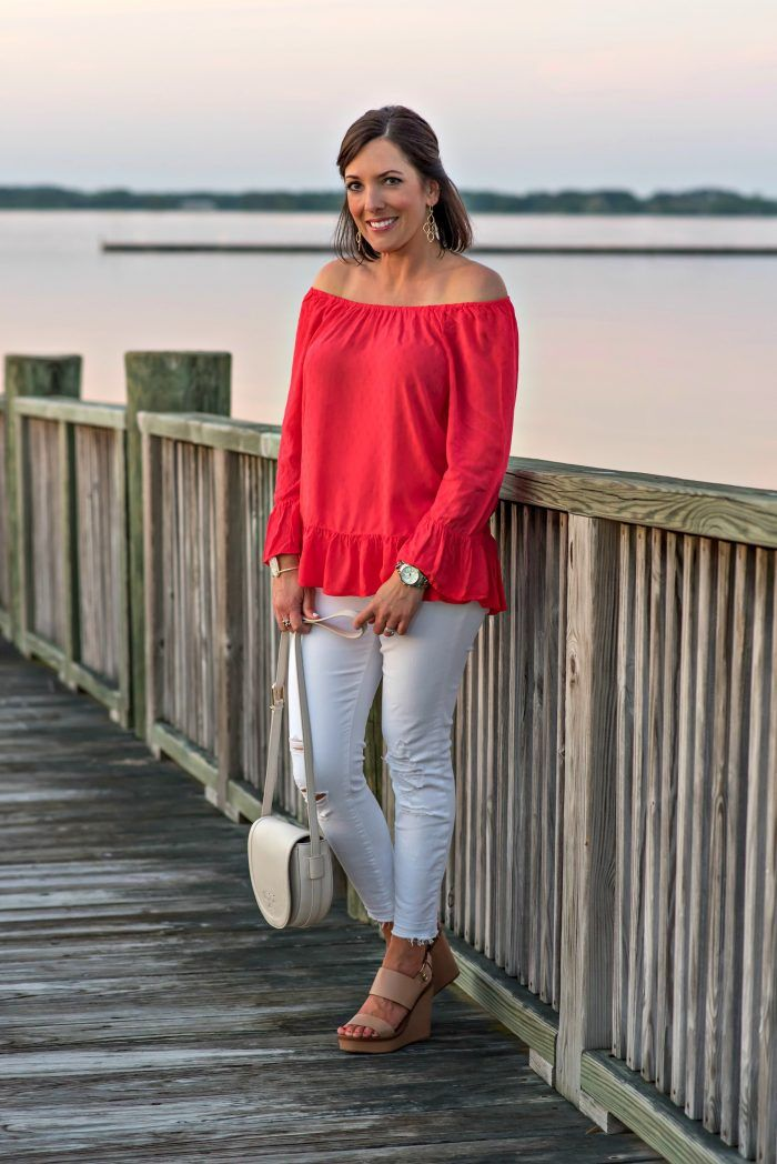 Summer Date Night Outfit: Embroidered Off the Shoulder Top with white distressed J.Brand jeans and Tory Burch Lexington Sandals. I'm sharing a summer date night outfit from my visit to the Hyatt Chesapeake a few weeks ago. I wore this out to dinner the first night we were there. Jo Lynne Shane