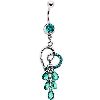 Zircon Blue Gem Cascading Heart Belly Ring #bodycandy #bellyring #heart $9.99