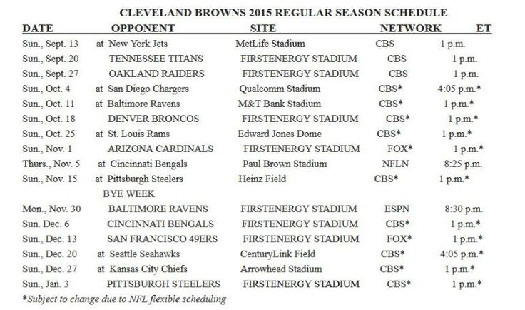 Cleveland Browns 2015 tv Schedule Printable | Earlier this month, the preseason schedule was released. Tuesday night ...