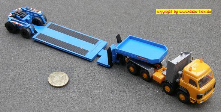 Saurer D330BF 8x4 Schwerlast-Zugmaschine (Roskopf 447) 384 mit Scheuerle Satteltieflieger (Preiser 1124)