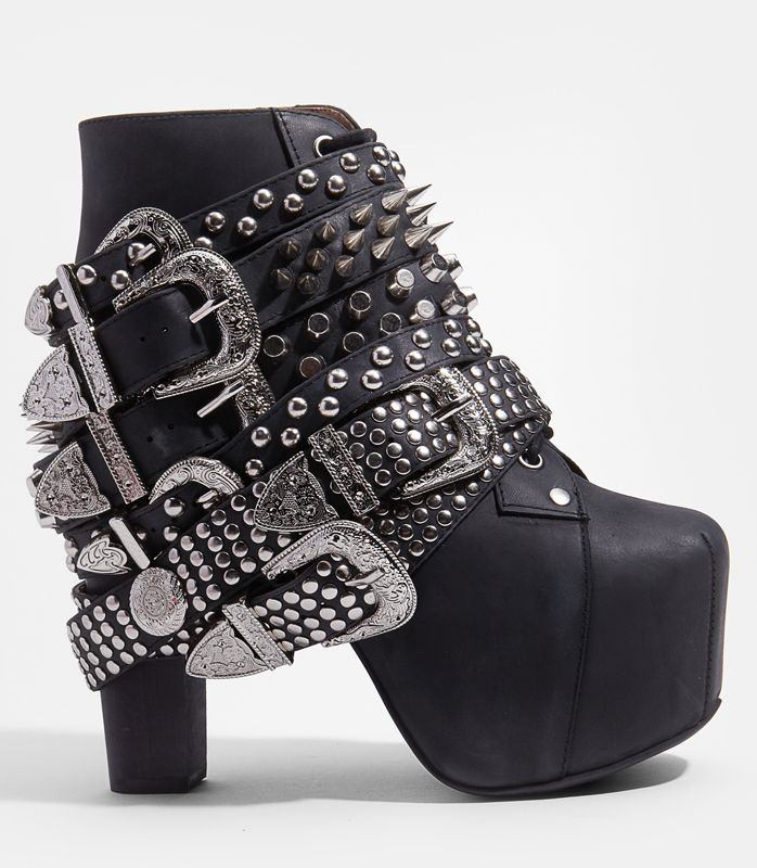Funny Gifts & Unique Gifts - Jeffrey Campbell Silver Belted Lita - Spiked Platform Lita Boot