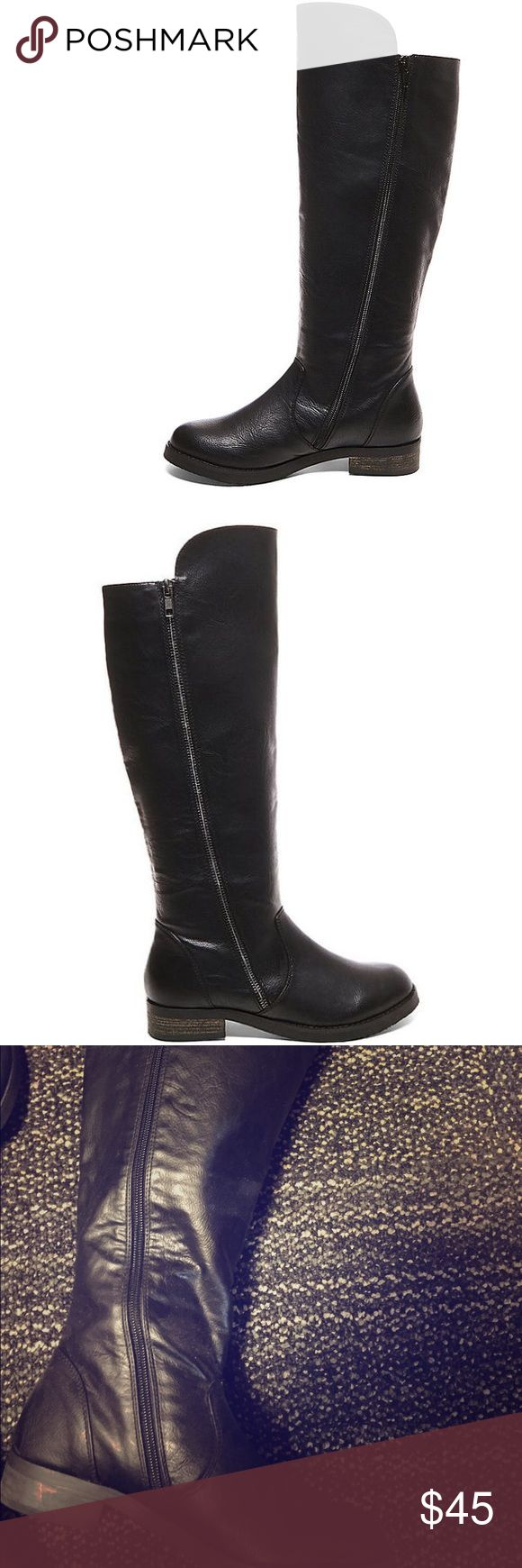 Steve Madden  Black Tall Boots Tall Black Boots with heel. Nice accent zipper along the side. Perfect with jeans or dress/skirt! Steve Madden Shoes Combat & Moto Boots