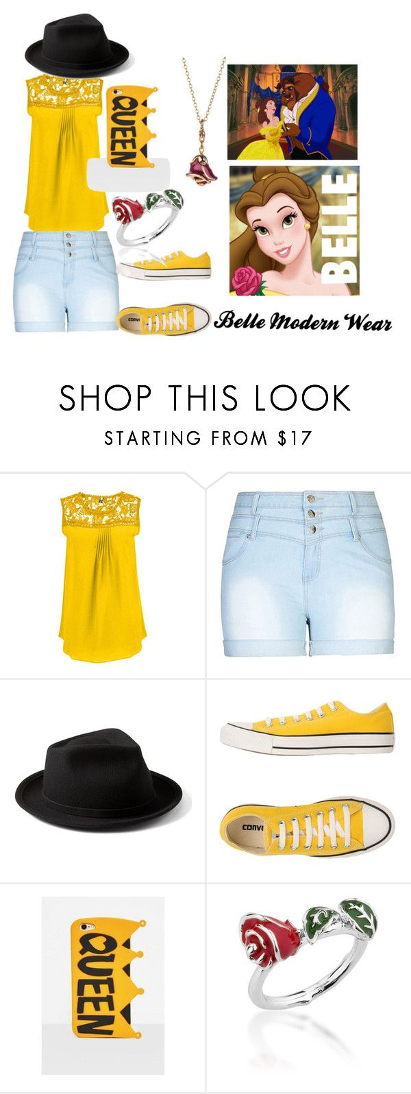 """""""Belle"""" by kamillonare101 on Polyvore featuring City Chic, Yellow 108, Converse, Missguided, Disney and plus size clothing"""