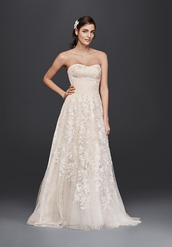 Strapless Linear Lace A-Line Wedding Dress | Style MS251174 by David's Bridal   http://trib.al/uFxm1Ax