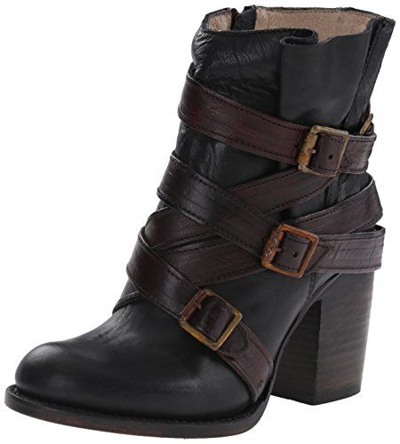 Freebird Women's Hustle Boot: Decorative straps give an urban vibe to  Freebird's genuine leather boot with stacked heel. Leather upper, lining  and sole.