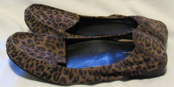 Cole Haan Nike Air Loafers 9 Medium Brown Leopard Print Low Heel Comfort #ColeHaan #LoafersMoccasins #Casual
