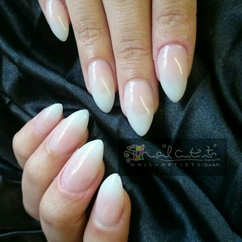 Almond white and pink ombre fully sculptured acrylic