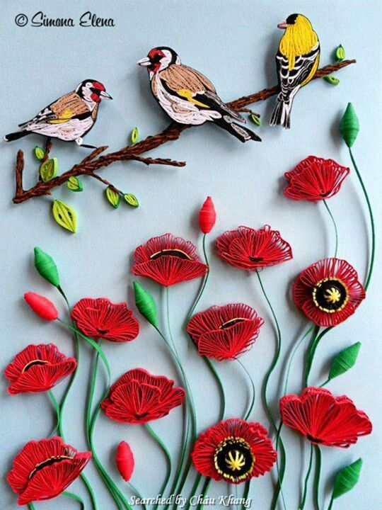 © Simona Elena- Quilled poppies pictures (Searched by Châu Khang)