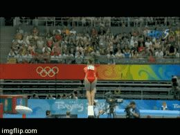 Shawn Johnson gif. 2008 Olympics Team Final Balance Beam standing full twisting back salto #gymnastics