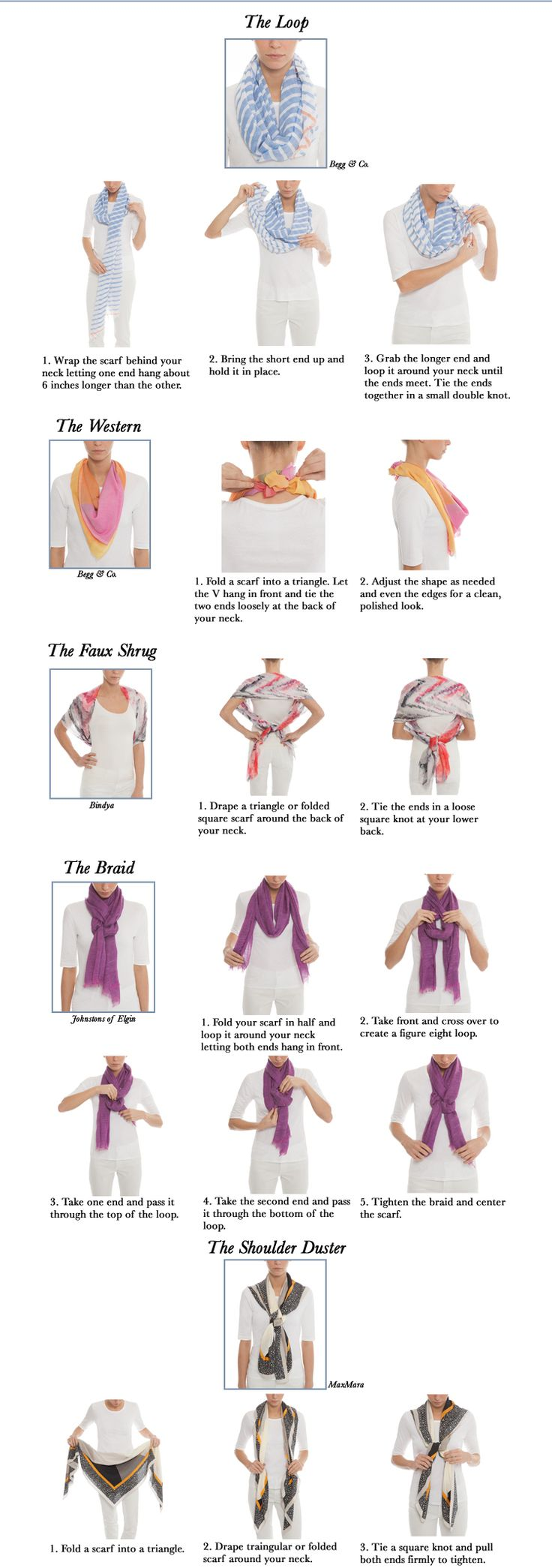 Ways to tie a scarf-- our step-by-step guide. Click the image to shop our beautiful selection of designer scarves at Halsbrook.com!