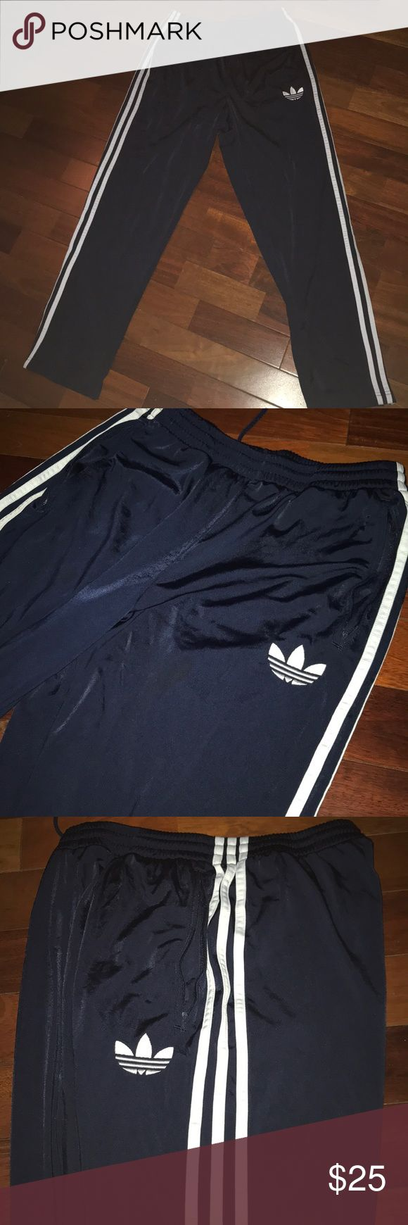 Adidas Original Track Pants Very good to work out in, run in, and other types of physical activity. Also good for lounging and hanging out. Very classic style. NAVY. Price can be negotiated. 😊 adidas Pants