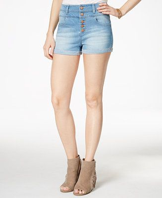 Tinseltown Juniors' Five-Button High-Waist Denim Shorts - Juniors Shorts - Macy's