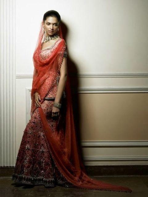 #DeepikaPadukone in Red #Designer #BridalLehenga