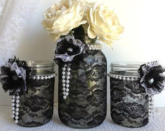 Black lace covered half gallson ball mason jar vase by PinKyJubb