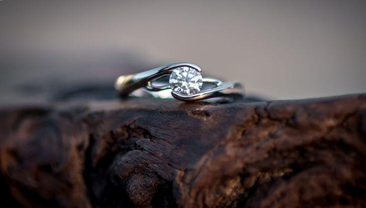 Custom designed, handmade diamond and white gold engagement ring.