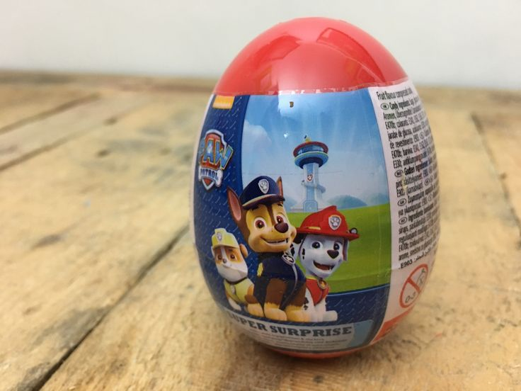 Surprise Eggs are the online phenomenon that children love to watch on YouTube as much as they enjoy receiving themselves. Each plastic egg contains a random selection of toy, sweets and stickers - themed to a particular design. This one is Paw Patrol.