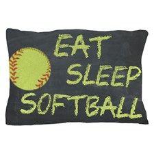 Eat, Sleep, Softball Pillow Case