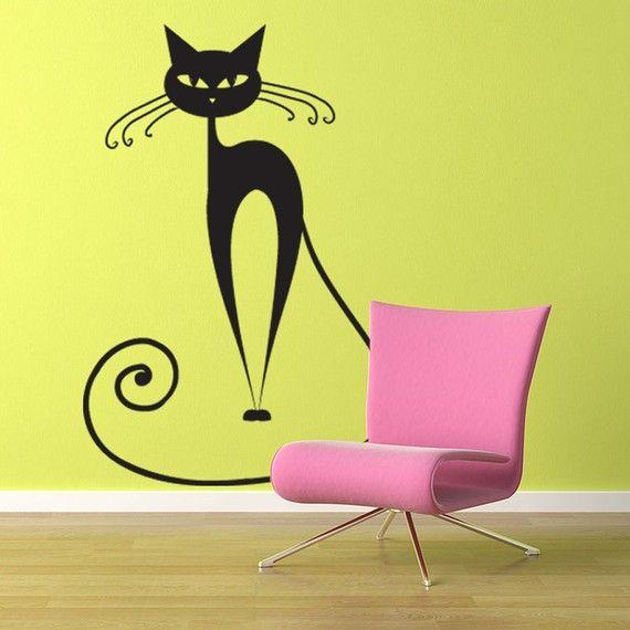 Vinyl Wall Decal Sticker Art Pretty Pussy Cat By Wordybirdstudios, $22.95