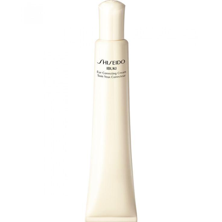 Sisheido Ibuki Eye Correcting Cream; esta crema para el contorno de los ojos de textura refrescante disminuye la apariencia de ojeras bolsas y líneas finas causadas por la sequedad. Los ojos adquieren luminosidad al instante. Está formulada con el comp